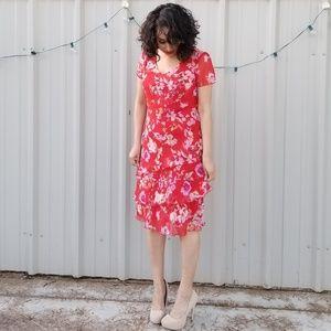 Sangria red floral dress
